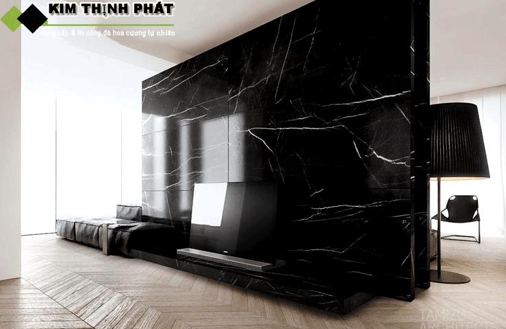 ốp tường đá marble đen tia chớp
