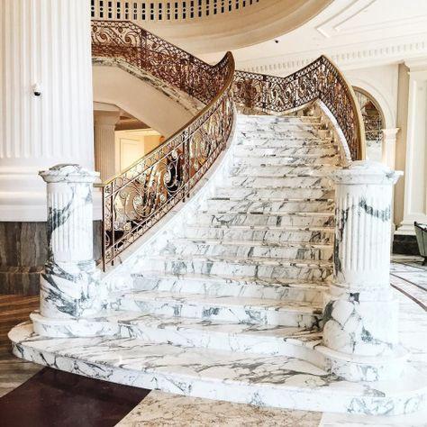 Càu thang đá Marble trắng ý