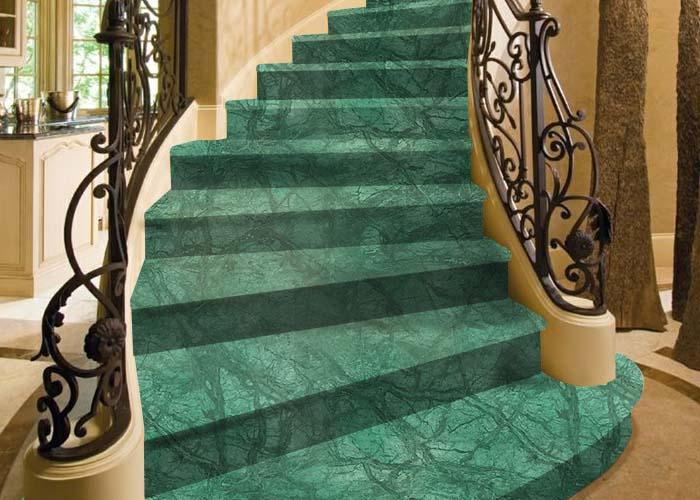 Cầu thang đá marble xanh