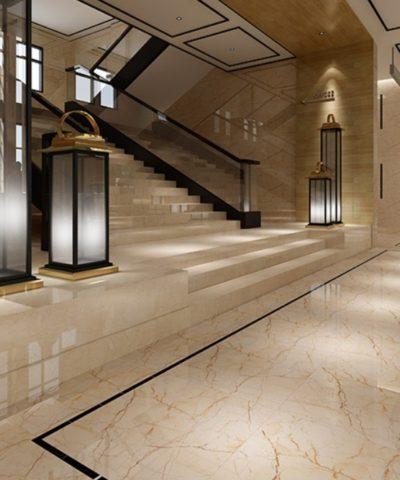 Ốp cầu thang đá marble Kem Oman