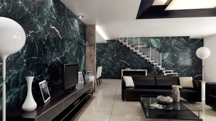 Phòng khách đá Marble xanh